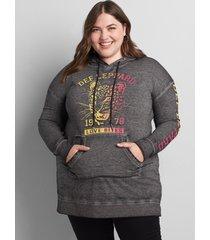 lane bryant women's def leppard love bites hoodie 22/24 dark heather grey