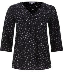 blusa floral manga 3/4 color negro, talla m