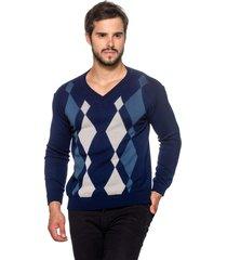 suéter officina do tricô losango azul.