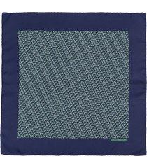 hermès 2000s pre-owned belt print silk pocket square - blue