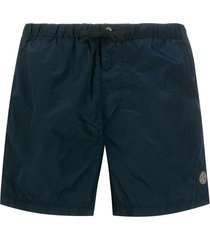 stone island creased swim shorts - blue