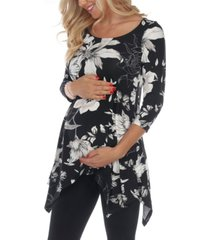 white mark maternity plus size floral scoop neck tunic top