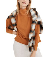 women's madewell mock neck hemp & cotton sweatshirt, size xx-small - orange