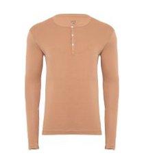 t-shirt masculina pima berlim botões slim fit - bege