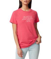 women's anne klein dylan cotton blend graphic tee, size medium - pink