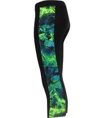 legging deportivo 3/4 con  franja verde color azul, talla xs