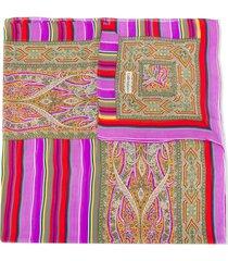 valentino pre-owned silk 1980s striped scarf - purple