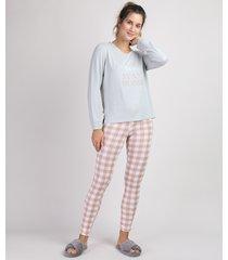 "pijama feminino ""let's stay home"" com estampa xadrez vichy mana longa cinza"