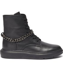 'kaia' chain anklet leather combat boots