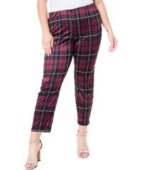 plus size women's single thread plaid ponte leggings, size 3x - purple