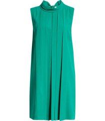 women's badgley mischka pleat front georgette trapeze dress, size 14 - green