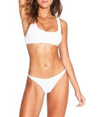 women's bound by bond-eye the malibu two-piece ribbed bikini swimsuit, size one size - white