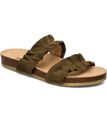sandals - flat - open toe - op shoes summer shoes flat sandals grön angulus