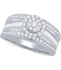 diamond cluster wide band ring (1 ct. t.w.) in 14k white gold