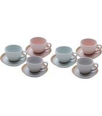 conjunto com 6 xícaras bon gourmet em cerâmica para chá com pires romance colorido