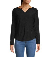 theo & spence women's inside out henley - black - size xs