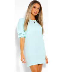 woven puff sleeve shift dress, mint