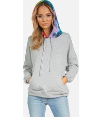 kiko le hoodie - heather grey/rainbow l