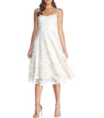 dress the population layla embroidered sequin fit & flare dress, size x-large in off white at nordstrom