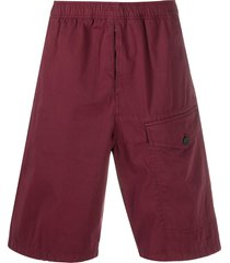 acne studios elasticated waistband bermuda shorts - red
