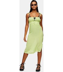 lime green ruched front midi beach dress - lime