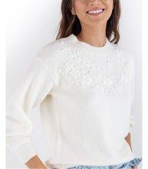 suéter tejido para mujer manga larga con apliques florales