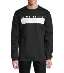 helmut lang men's oversized logo sweatshirt - olive - size m
