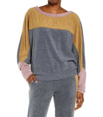 free people blue monday colorblock fleece sweatshirt, size x-large in gold dust combo at nordstrom