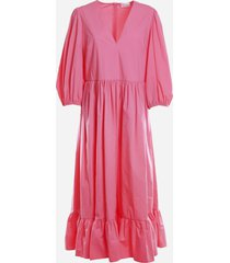 red valentino cotton poplin dress with puff sleeves