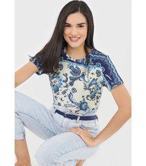 camiseta desigual melian azul - azul - feminino - viscose - dafiti