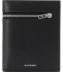 acne studios logo print bi-fold wallet - black