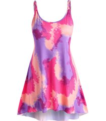 plus size tie dye braided strap tank dress