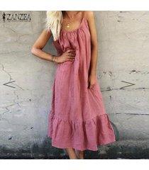 zanzea verano de las mujeres sin mangas de volantes hem vestido de la playa sun vestido maxi larga de las señoras -rosado