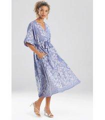 natori floral embroidery caftan dress, women's, cotton, size l