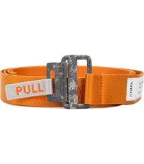 heron preston logo embroidered ring buckle belt - orange