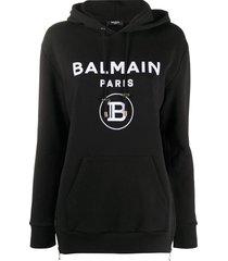 contrasting logo long-sleeve hoodie