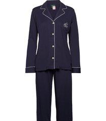 lrl hammond knit collar pj set pyjama blauw lauren ralph lauren homewear