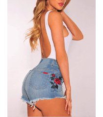 shorts de mezclilla de cintura alta bordados con bolsillos laterales