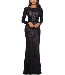 betsy & adam petite embellished embroidered gown