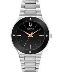bulova men's futuro diamond-accent stainless steel bracelet watch 43mm