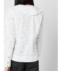 ganni women's printed cotton poplin shirt - bright white - eu 38/ uk 10