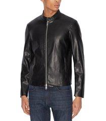 ax armani exchange zip-up faux leather moto jacket