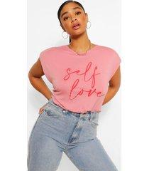 plus shoulderpad self love slogan t-shirt, blush