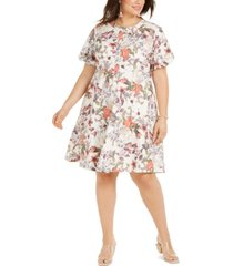 inc plus size cotton puff-sleeve dress, created for macy's