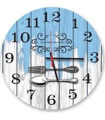 relã³gio de parede decorativo talheres fundo branco e azul pã¡tina 35cm mã©dio - multicolorido - dafiti