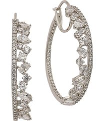 adriana orsini women's encore rhodium-plated & cubic zirconia hoop earrings