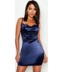 satijnen bodycon jurk met col, marineblauw