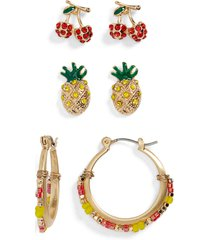 women's bp. 3-pack fruit stud & hoop earrings