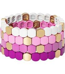 roxanne assoulin purple haze set of four bracelets - pink