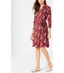 charter club petite printed polo shirtdress, created for macy's